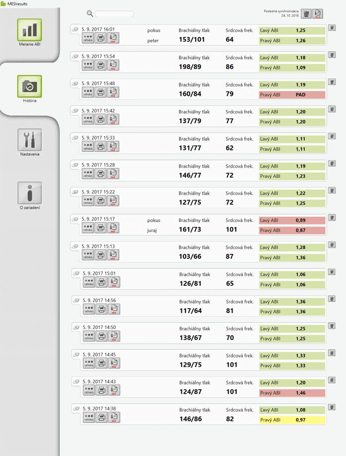 aplikácia Mesi results