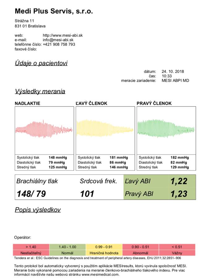 mesiresults zoznam údaje o pacientovi